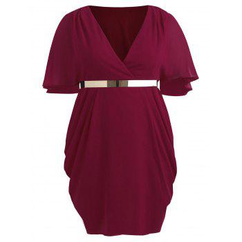 Plus Size Flutter Sleeve Surplice Dress - BLOOD RED 2X