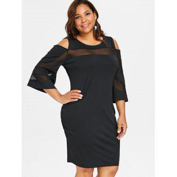 Plus Size Open Shoulder Bodycon Dress - BLACK 3X