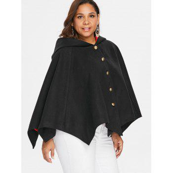 Halloween Plus Size Two Tone Batwing Coat - BLACK 3X