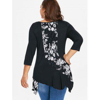 Plus Size Floral Drape Asymmetric T-shirt - BLACK 2X