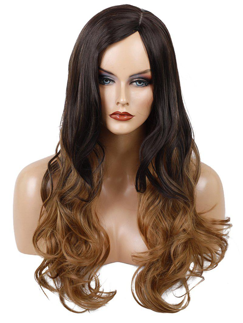 Long Side Parting Wavy Colormix Synthetic Wig - multicolor