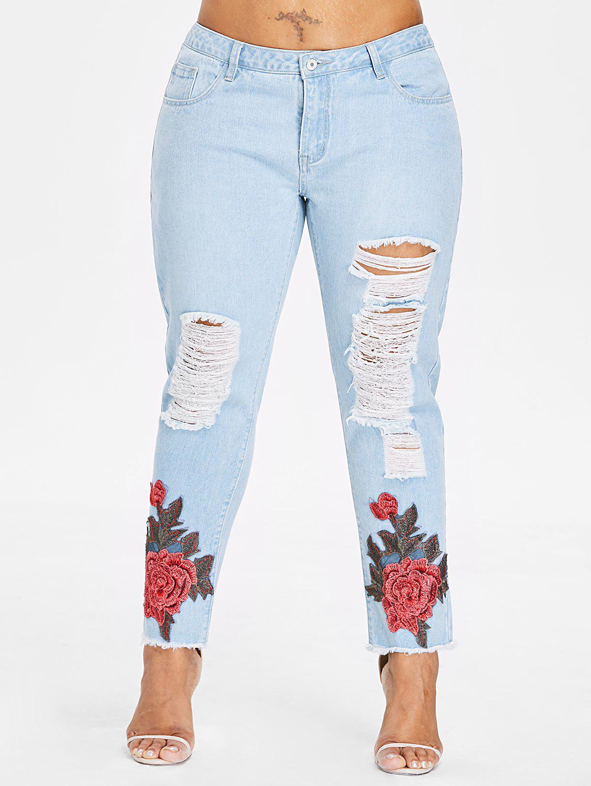 Plus Size Raw Hem Ripped Jeans - JEANS BLUE 4X