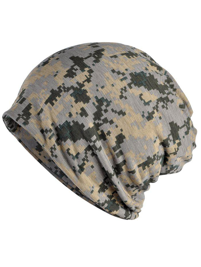 Novelty Digital Camo Printed Open Top Beanie - multicolor A
