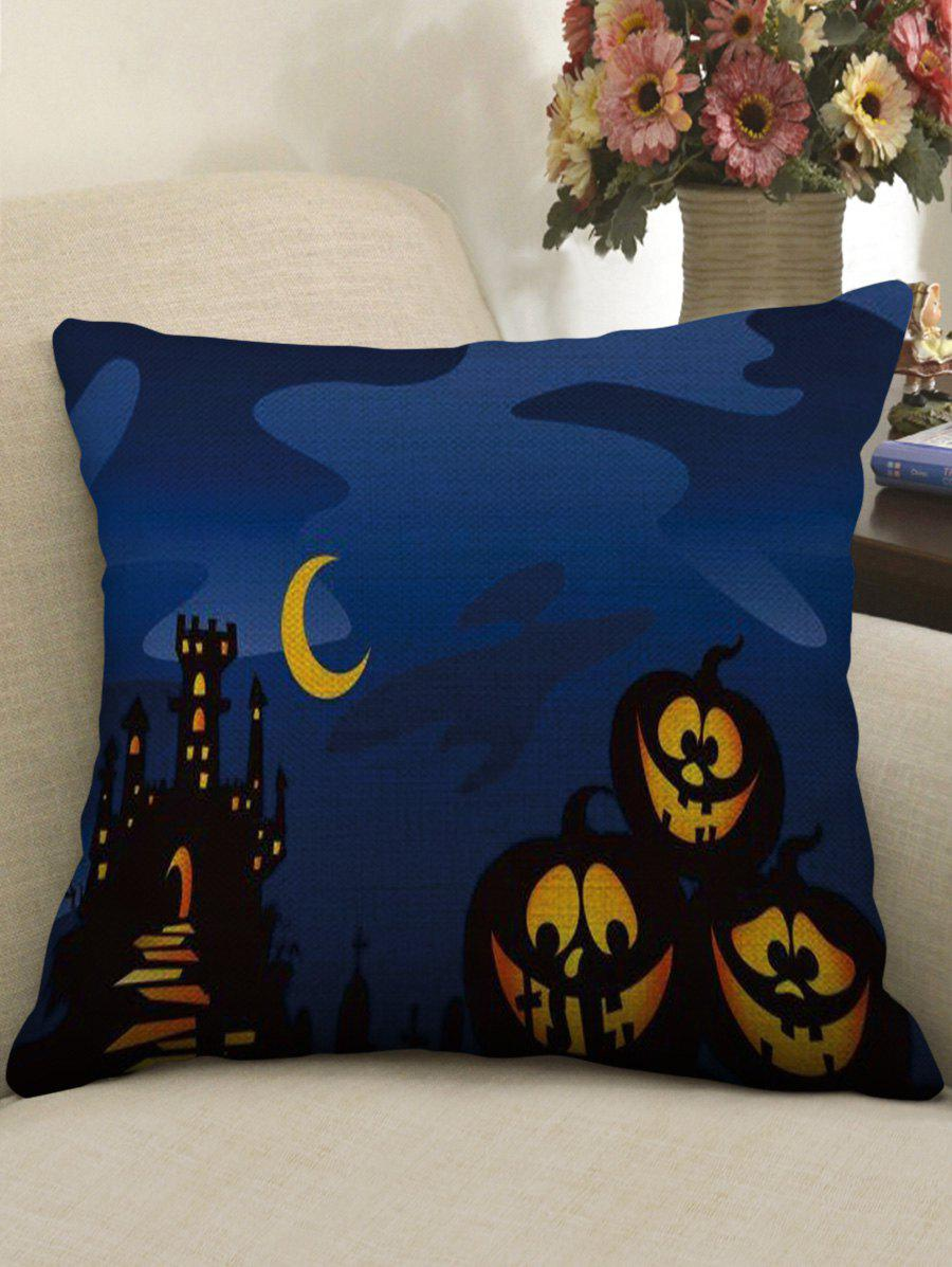 Halloween Pumpkin Print Linen Sofa Pillowcase - multicolor W18 INCH * L18 INCH