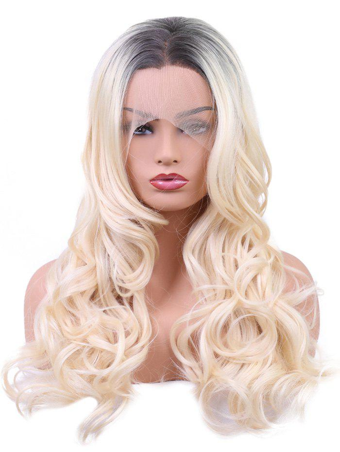 Long Center Parting Colormix Wavy Synthetic Party Lace Front Wig - multicolor