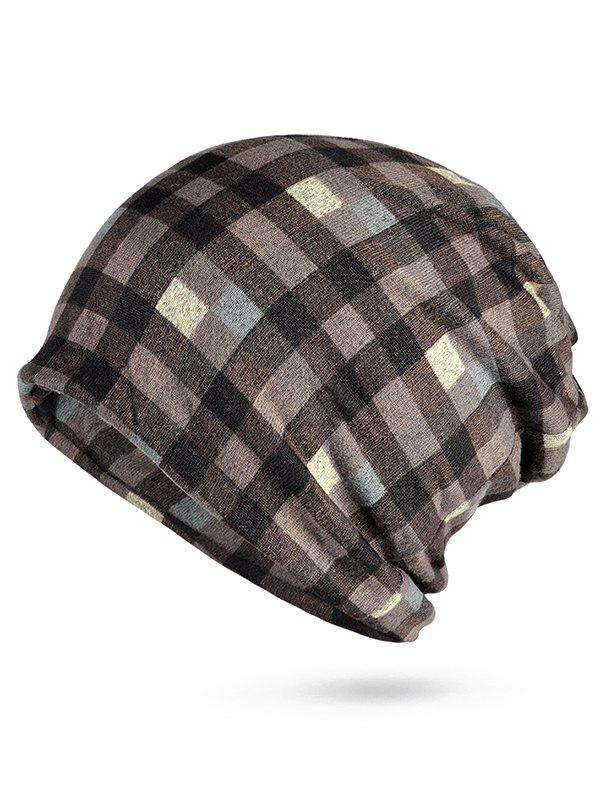2018 Stylish Plaid Open Top Slouchy Beanie COFFEE In Hats Online ... 8df740f74c6