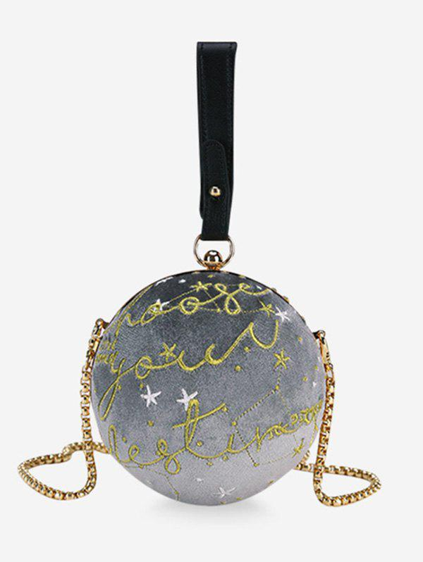 Ball Shaped Patchwork Chic Banquet Crossbody Bag - GRAY