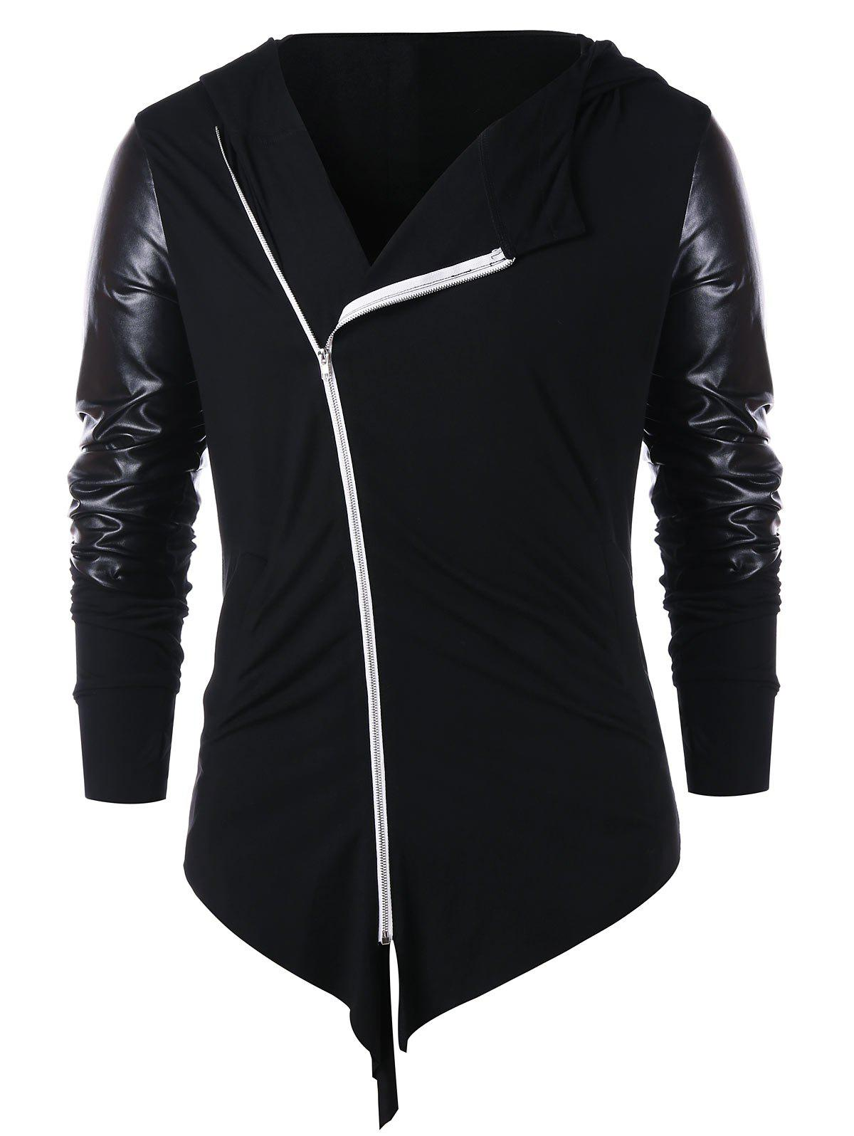 Panel Zip Embellished Asymmetric Hoodie - BLACK 2XL