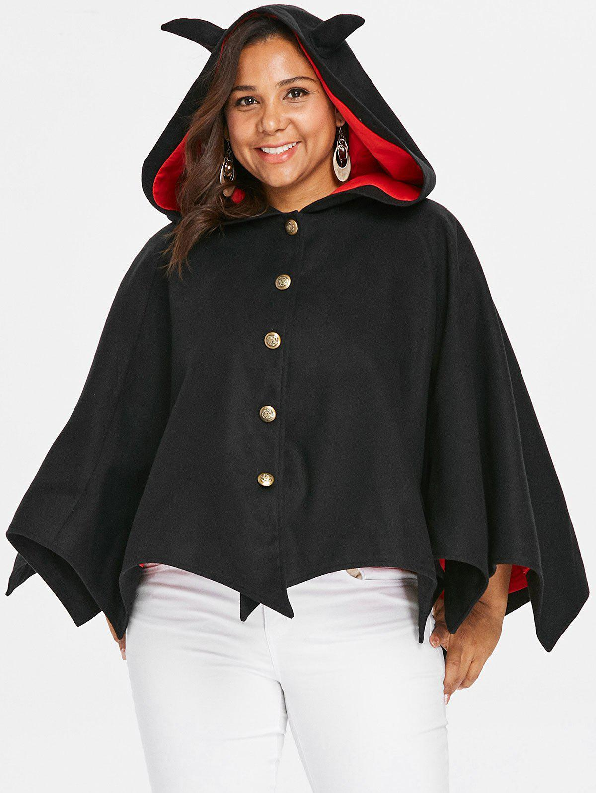 Halloween Plus Size Two Tone Batwing Coat - BLACK L