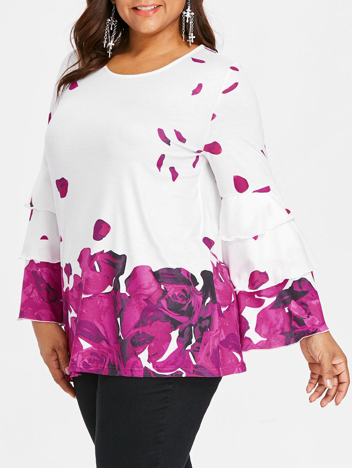 Plus Size Petal Print Bell Sleeve Blouse - DARK CARNATION PINK 5X
