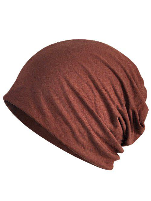 Vintage Solid Color Soft Slouchy Beanie - COFFEE