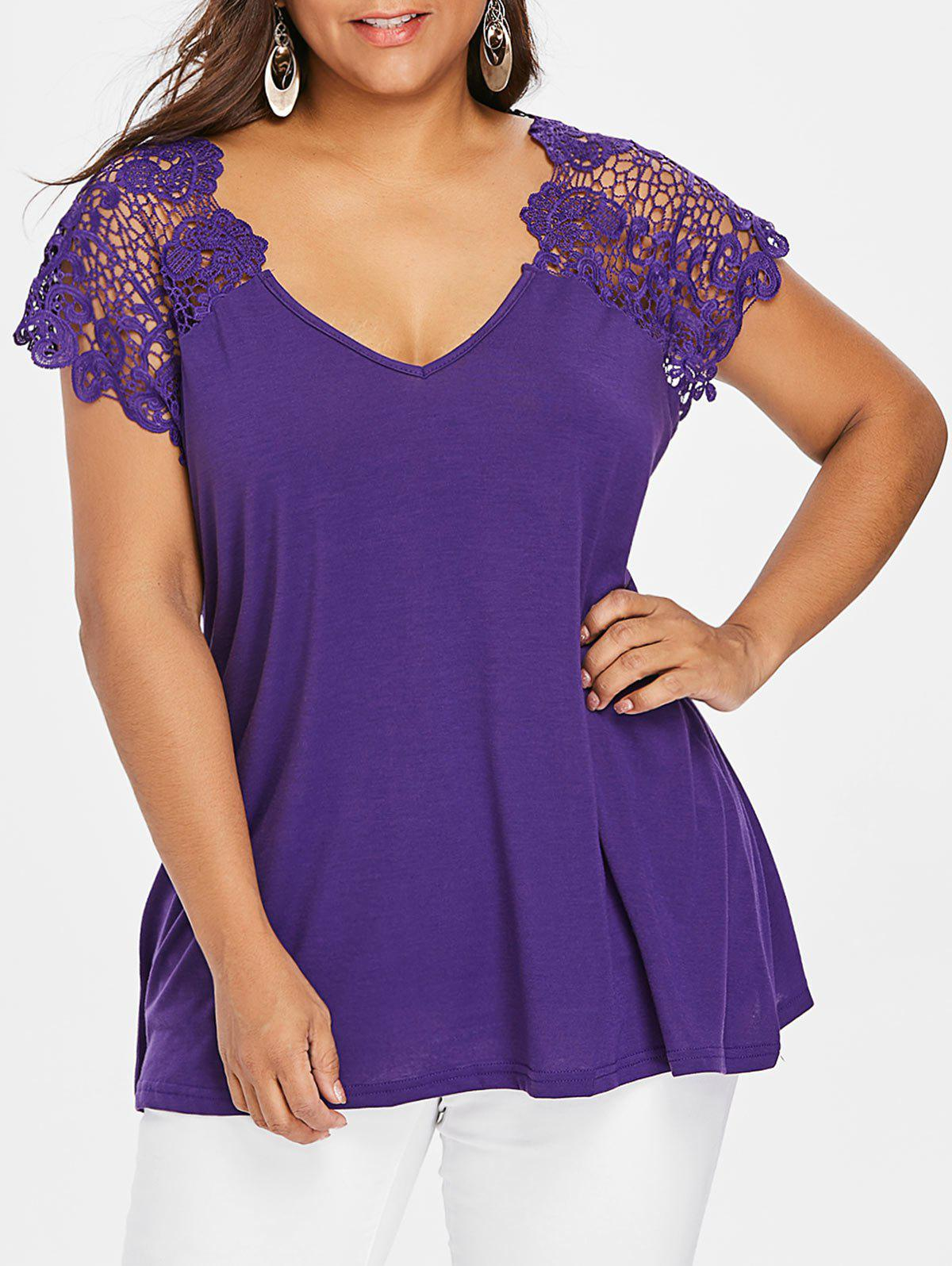 Plus Size Cutwork Lace Trim T-Shirt - DEEP PURPLE 2XL