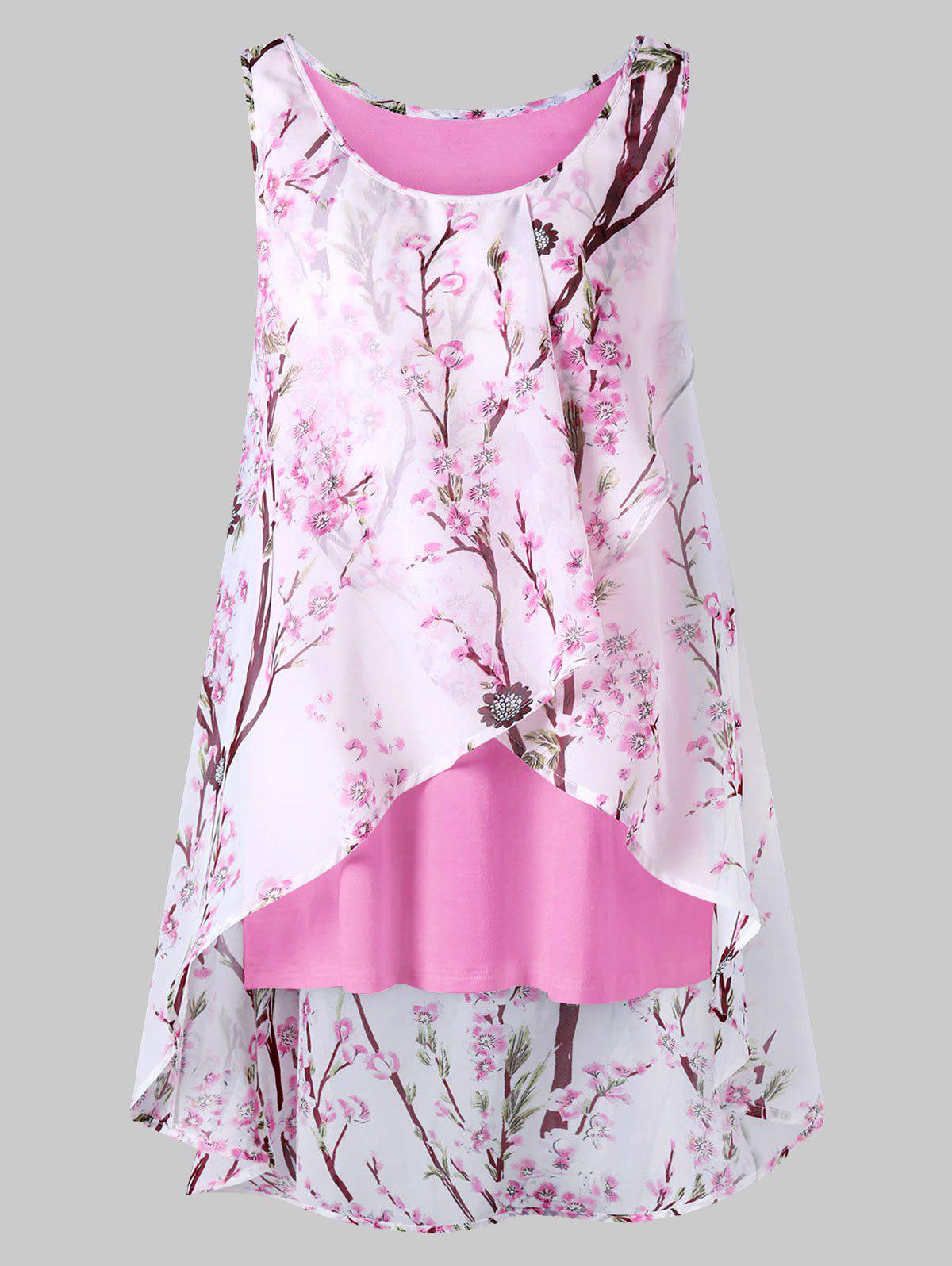 Plus Size Tiny Floral Overlap Sleeveless Top, Light pink