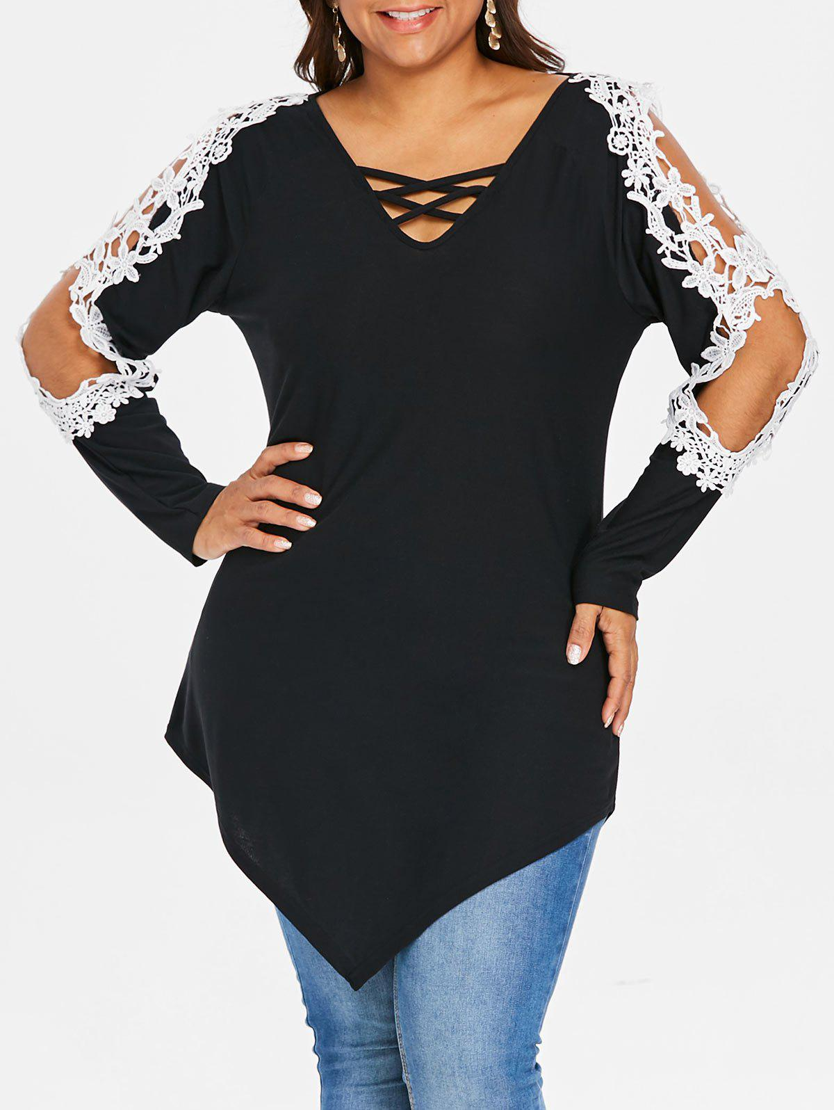 Plus Size Cut Out Sleeves Lace Asymmetric Top - BLACK L