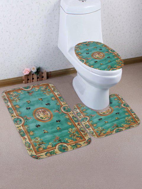 Vintage Flowers Pattern 3 Pcs Toilet Mat Set - JELLYFISH