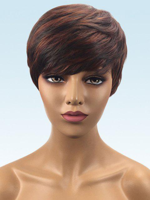 Short Inclined Bang Colormix Layer Straight Synthetic Wig - multicolor