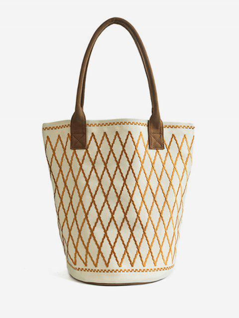Embroidery Crisscross All Over Geometric Canvas Tote Bag - WHITE