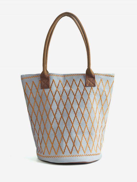 Embroidery Crisscross All Over Geometric Canvas Tote Bag - BLUE GRAY