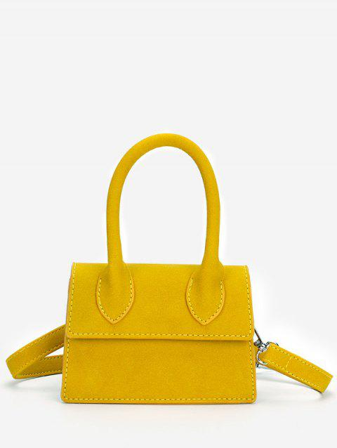 Stitches Flapped Top Handle Crossbody Bag - YELLOW