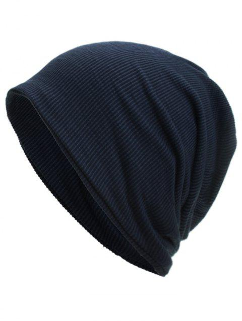 Vertical Striped Pattern Baggy Beanie - CADETBLUE