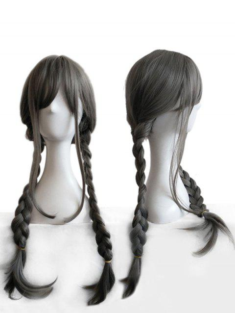Long Inclined Bang Straight Braids Anime Cosplay Synthetic Wig - SANDSTONE