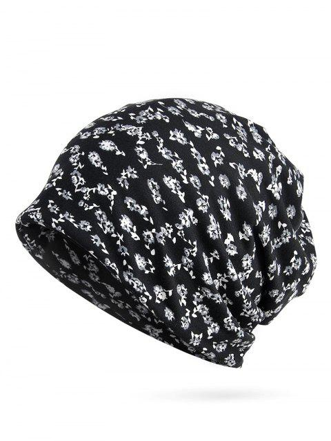 Flourishing Floral Decorative Slouchy Beanie - BLACK