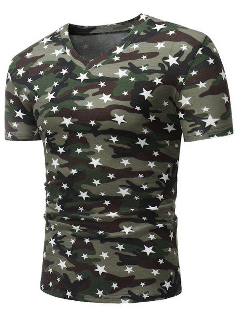 Short Sleeve Camo Five Pointed Star Pattern T Shirt