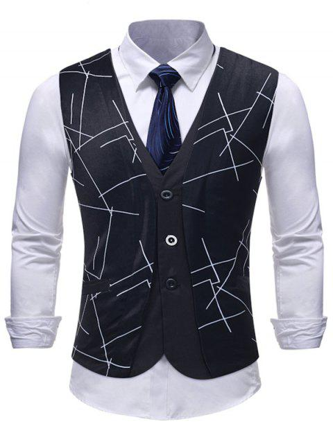 Untidy Lines Print False Two Pieces Waistcoat - BLACK M