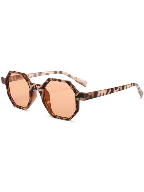 Anti Fatigue Hexagon Flat Lens Sunglasses - LEOPARD