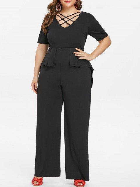 Plus Size V Neck Overlay Jumpsuit - BLACK 5X