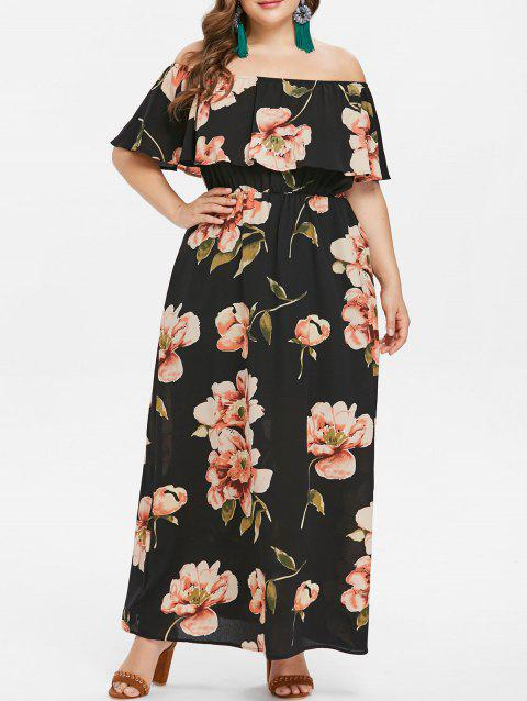 Plus Size Print Ruffle Off Shoulder Dress - BLACK 2X