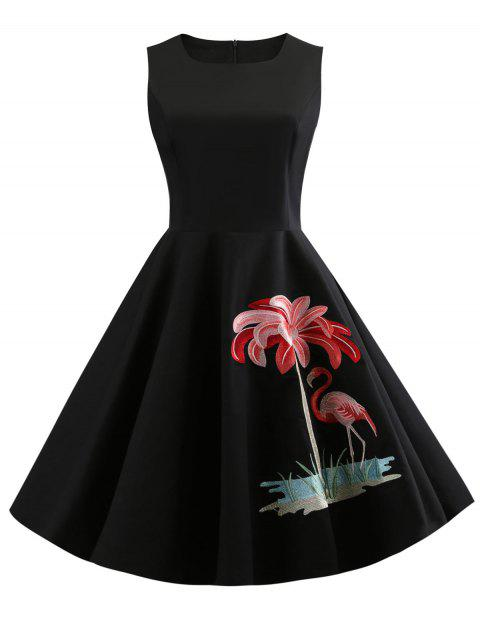 Round Neck Flamingo Embroidery Vintage Dress - BLACK XL
