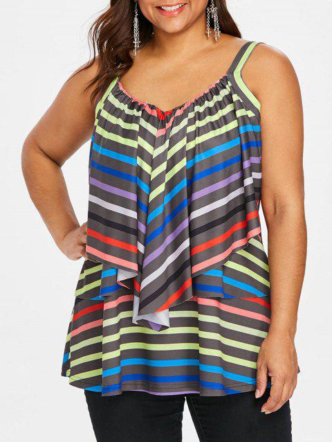 Layered Ruffle Plus Size Striped Cami Top - multicolor 2X