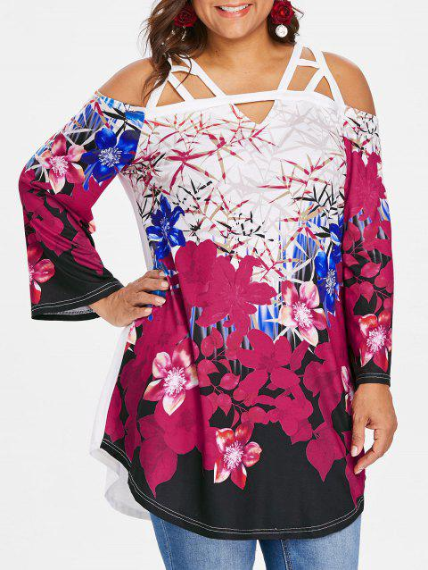 Plus Size Cutout Bell Sleeve T-shirt - multicolor 4X