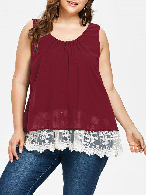 Plus Size Two Tone Scalloped Tank Top - RED WINE 1X
