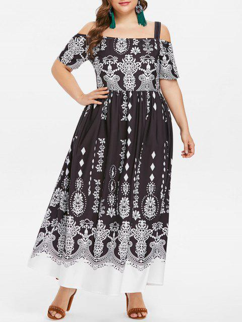 Short Sleeve Plus Size Printed Maxi Dress - BLACK L