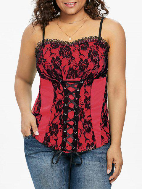 Plus Size Ruffle Trim Lace Up Tank Top - RED 2X