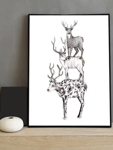 2018 Deer Print Framed Canvas Painting WHITE INCH In Canvas Wall Art ...