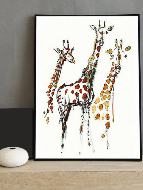 Giraffe Print Framed Canvas Painting - multicolor 16*24 INCH
