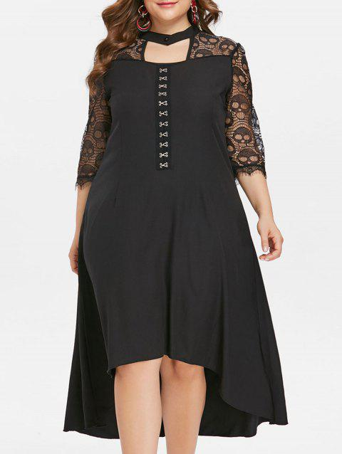 Plus Size Skull Lace Insert High Low Dress - BLACK 2X