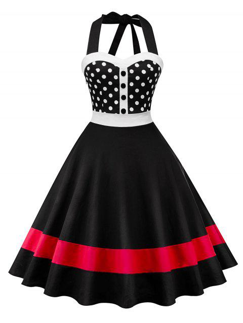 Halter Neck Polka Dot Insert Swing Dress - BLACK XL