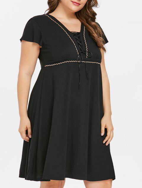 Short Sleeve Lace Up Plus Size Dress - BLACK 4X