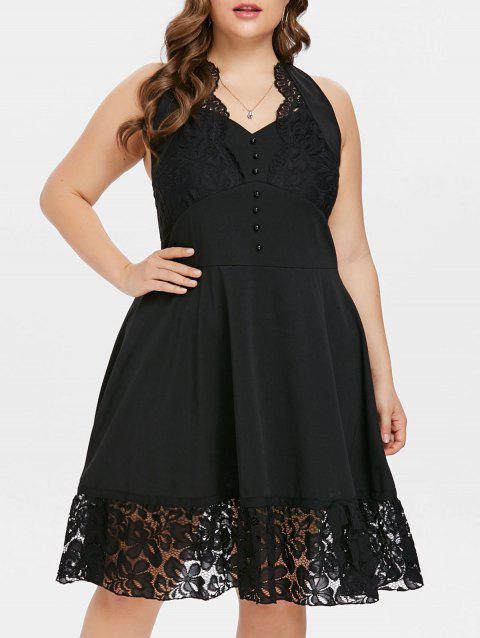 Halter Neck Lace Panel Plus Size Vintage Dress - BLACK 4X