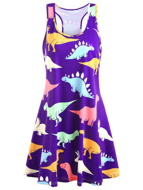 Plus Size Dinosaur Swing Dress - PURPLE 4X