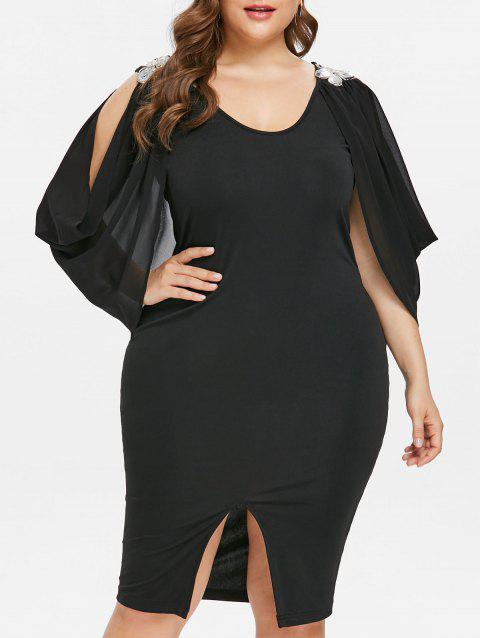 Scoop Neck Plus Size Front Slit Dress - BLACK 2X
