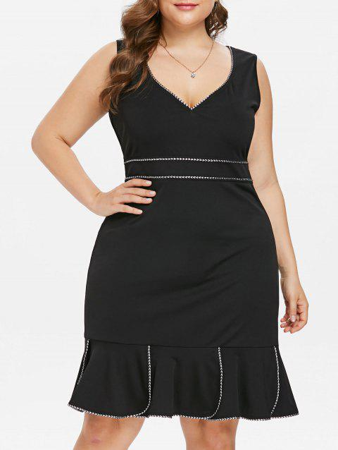 Plus Size Contrast Trim Bodycon Dress - BLACK 2X