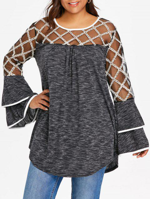 47244dabed620 42% OFF  2019 Plus Size Plaid Sheer Yoke Bell Sleeve T-shirt In ...