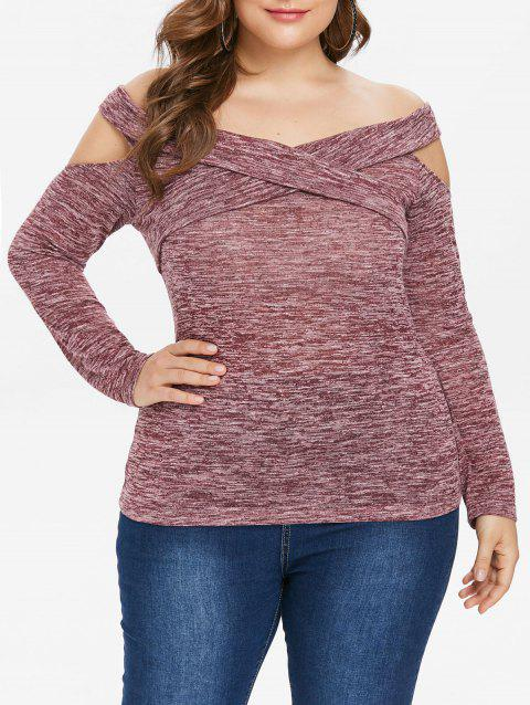 Plus Size Baring Shoulder Marled T-shirt - LIPSTICK PINK 1X