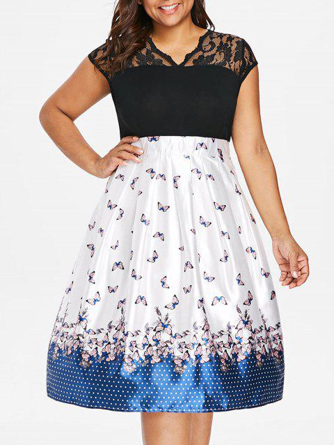 Plus Size Butterfly Print Knee Length Dress - multicolor 2X