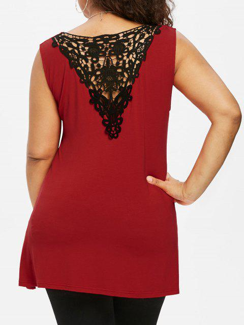 Plus Size Twist Front Asymmetrical Top - RED L
